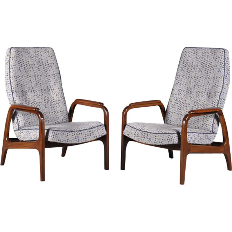 Set of 2 vintage Scandinavian high back lounge chairs in teak