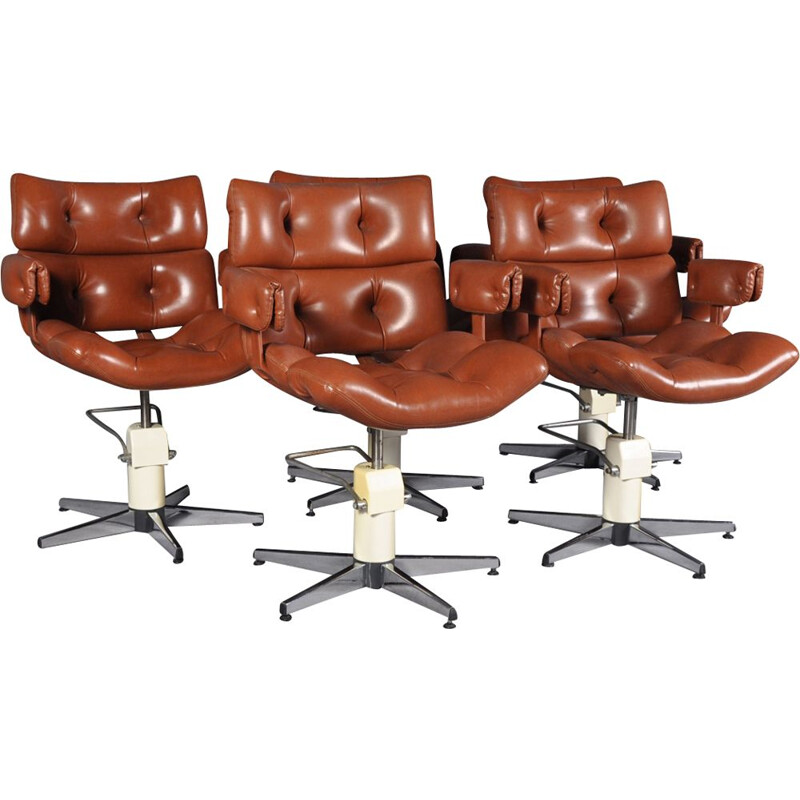 Set of 5 vintage french adjustable swivel chairs