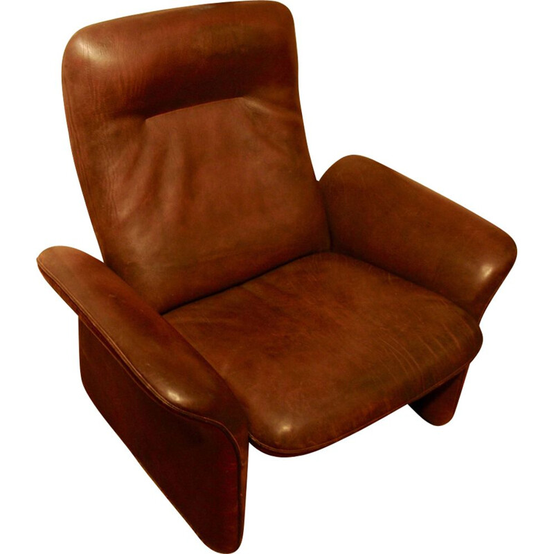 Vintage brown leather armchair by De Sede