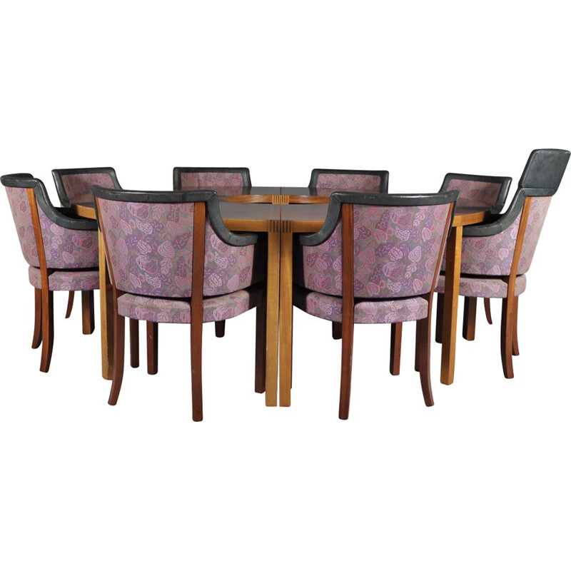 Vintage conference table and 8 Riksdagen chairs by Åke Axelsson