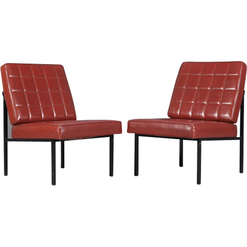 Set of 2 vintage Austrian low lounge chairs By Wiesner Hager
