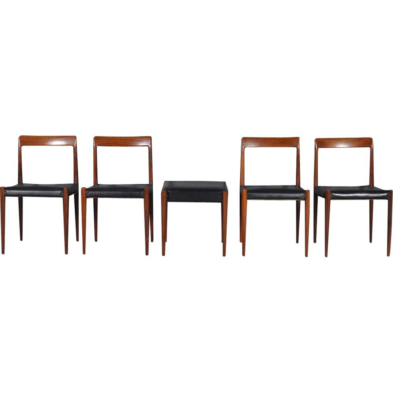 Set of 4 vintage rosewood dining chairs with stool by Lübke