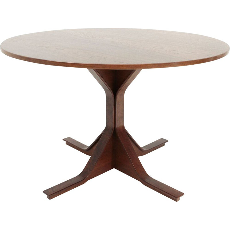 Vintage Italian round dining table by Gianfranco Frattini for Bernini