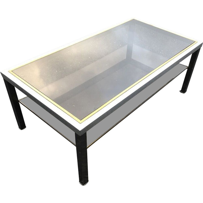 Vintage coffee table in brass and steel by Maison Jansen