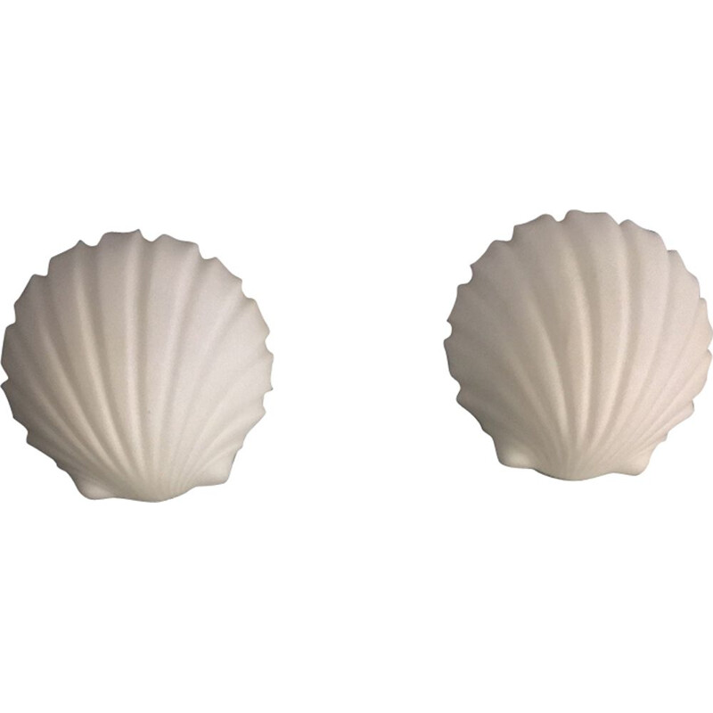 Set of 2 vintage shell wall lamps Limburg