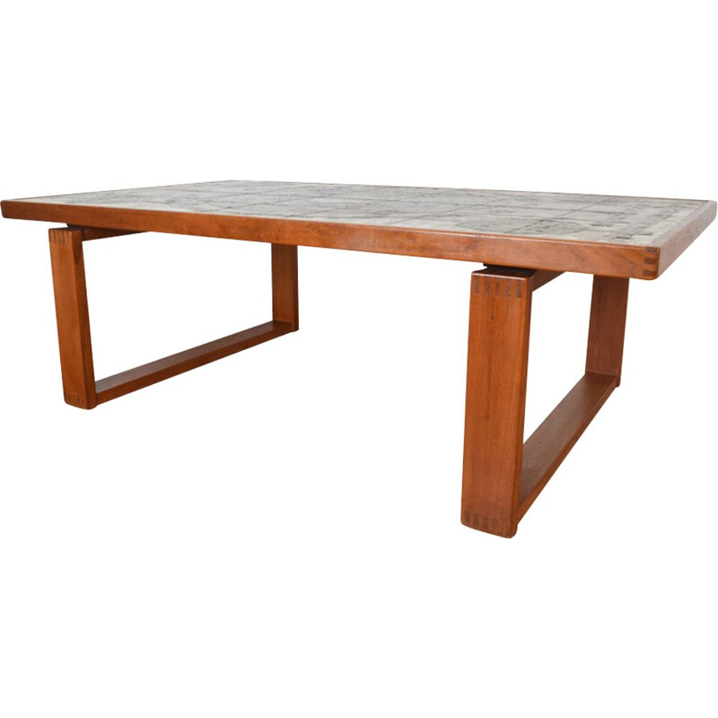 Vintage Danish teak with ceramic tiles coffee table by Ox-Art for Trioh