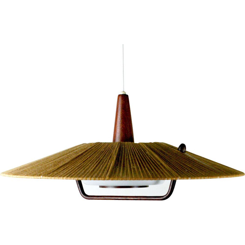 Vintage pendant lamp in teak and cord by Temde