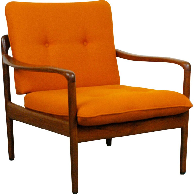 Vintage orange armchair in teak by Knoll Antimott