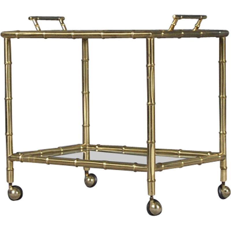 Vintage Italian faux bamboo bar cart with removable tray