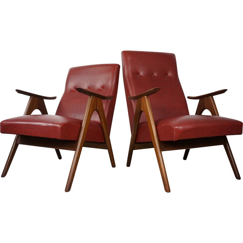 Set of 2 vintage armchairs by Louis Van Teeffelen for Webe