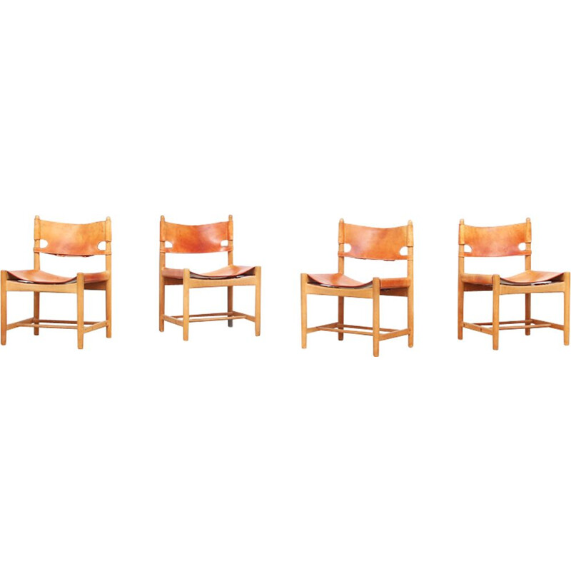 "Set of 4 vintage Danish dining chairs ""3237"" by Borge Mogensen for Fredericia"