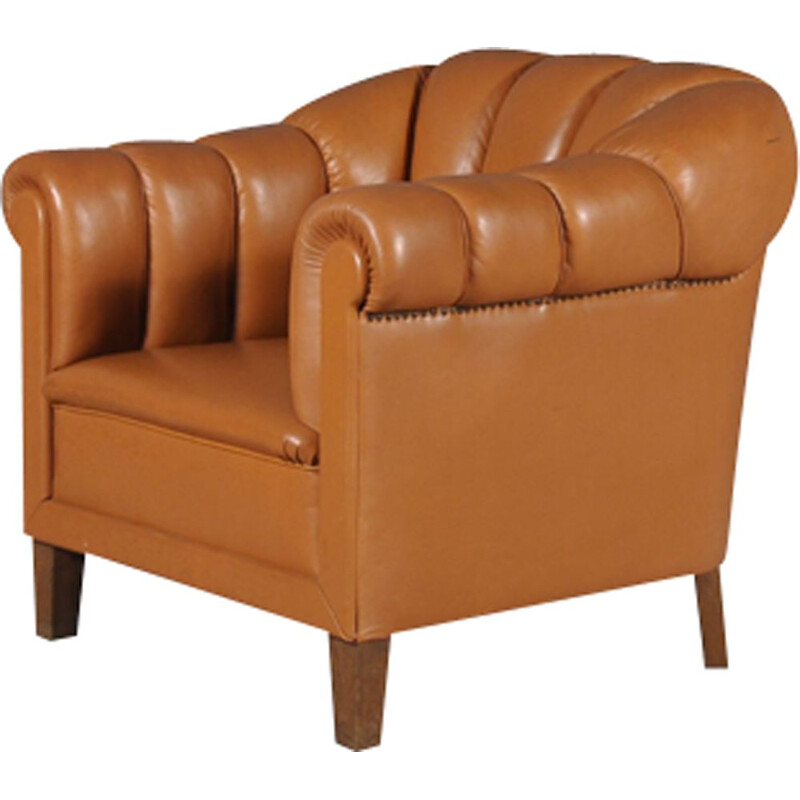 Vintage oversize Italian cognac leather club chair