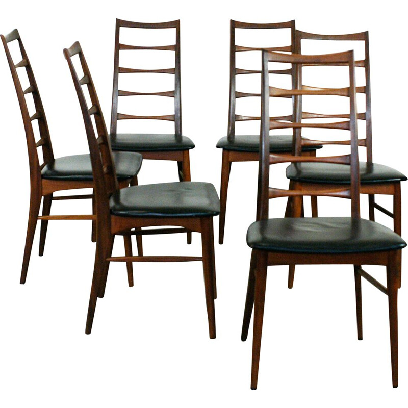 "Set of 6 vintage Danish dining chairs in teak ""Liz""  by N. Koefoeds"