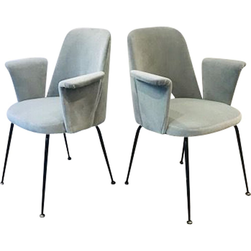 Set of 2 vintage armchairs in grey velvet