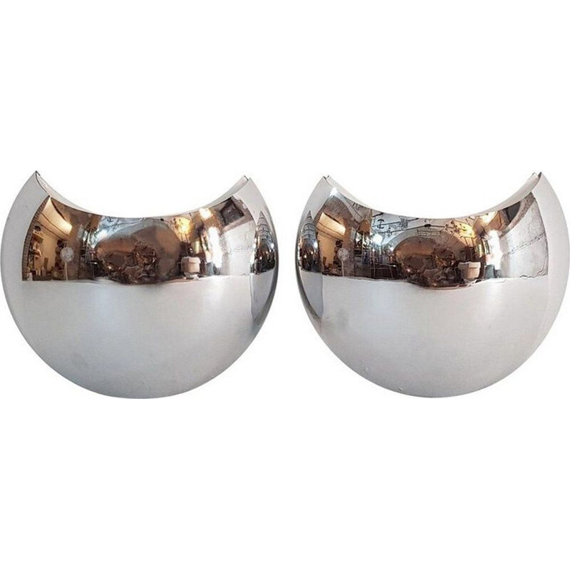 Set of 2 vintage chrome wall lamps