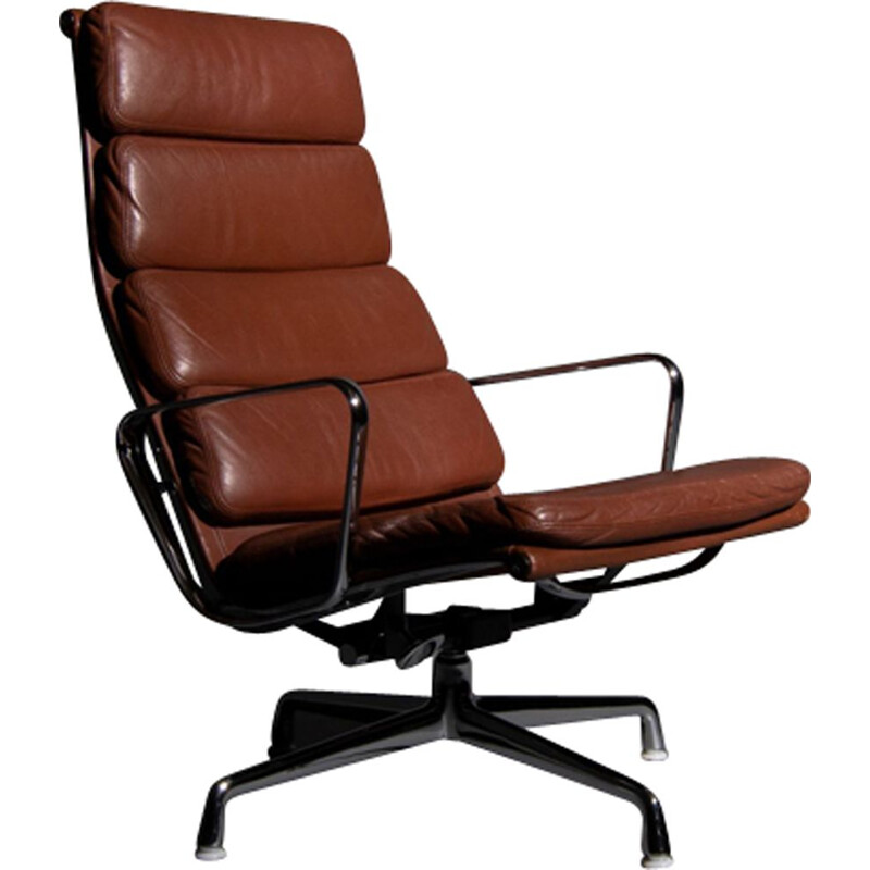 Vintage lounge chair EA 222 softpad brown leather by Eames