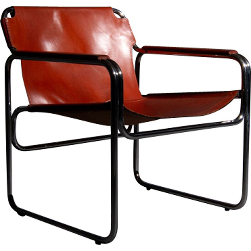 Vintage tubular chair with seating and armrests made of tan saddle leather