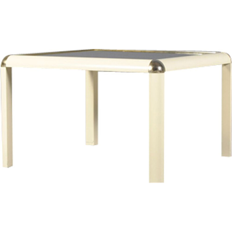Vintage Italian modern brass and glass coffee table