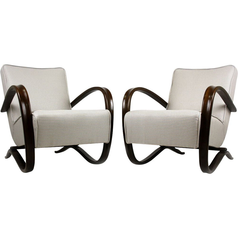 Set of 2 vintage H - 269 armchairs by Jindrich Halabala