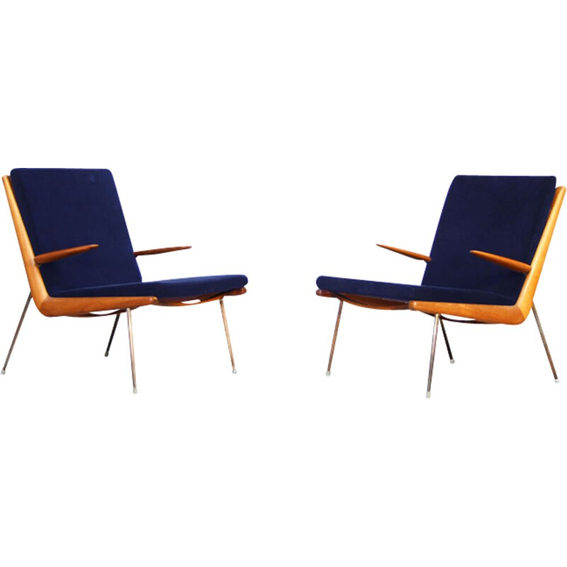 Set of 2 vintage blue armchairs by Peter Hvidt and Orla Mølgaard-Nielsen for France & Son