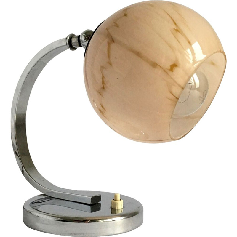 Vintage table lamp in chrome and glass