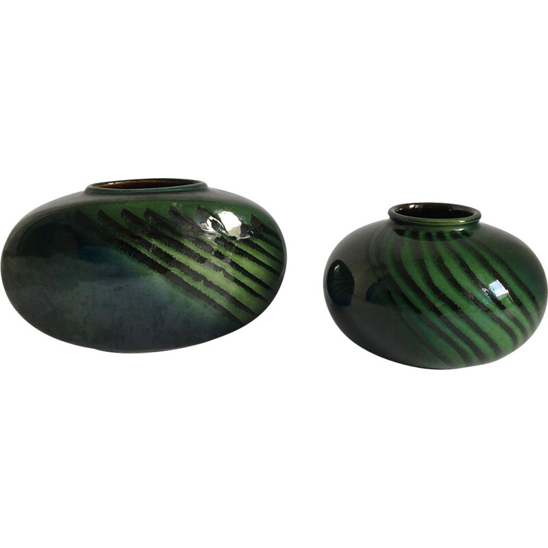 Set of 2 vintage green vases by West Germany