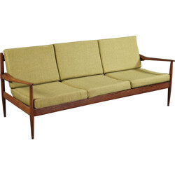 3 seater sofa in teak and green fabric, Grete JALK - 1950s