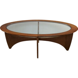 Astro oval coffee table in teak and glass, Victor WILKINS - 1960s