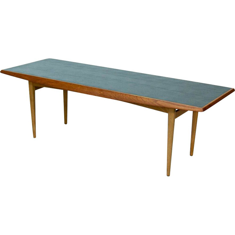 Vintage coffee table in teak with black top