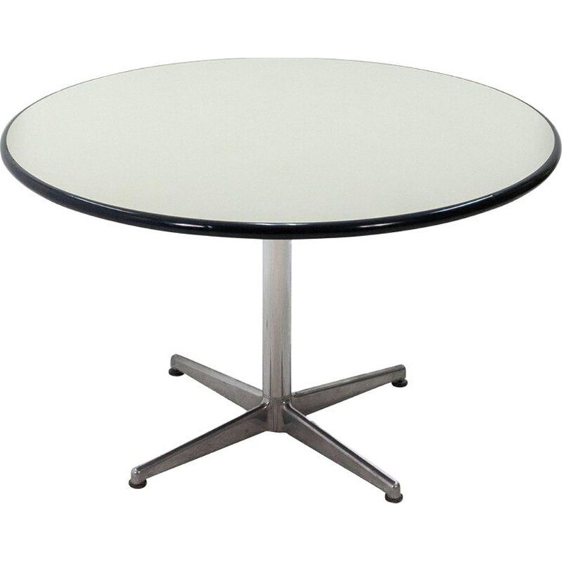 Vintage round table in aluminum by Anna Castelli