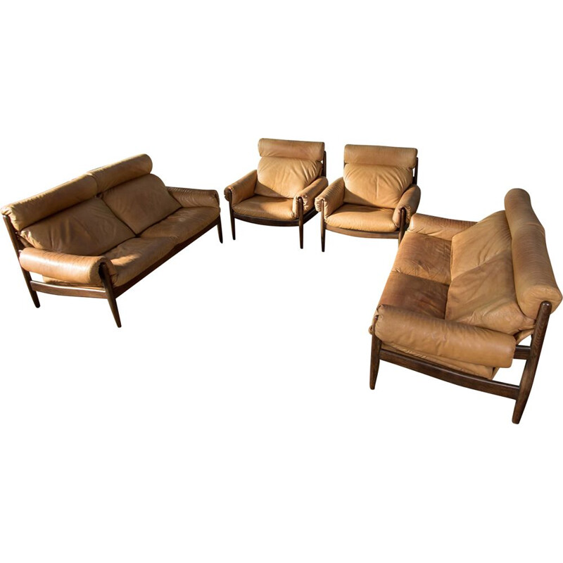 Living room set in leather and rosewood by Durlet