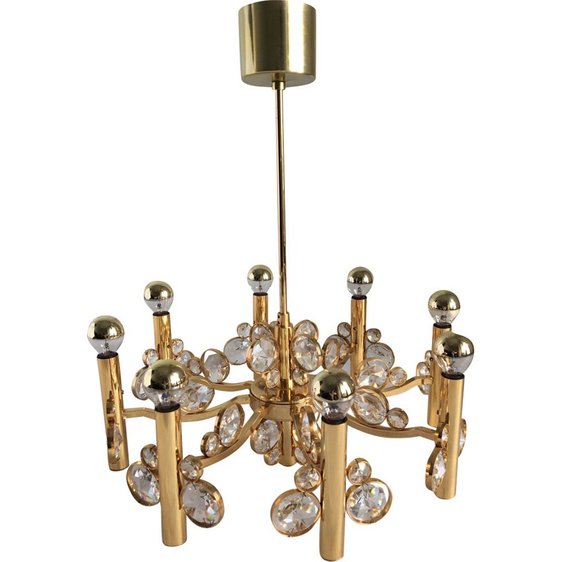 Vintage 8-arm chandelier in golden brass