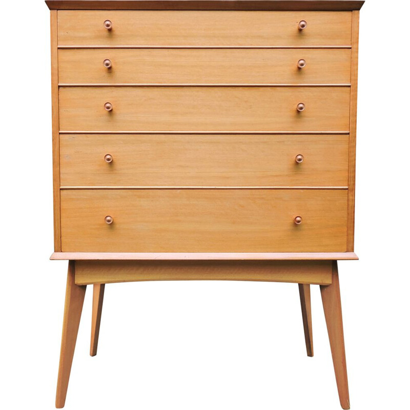 Vintage teak and walnut chest of drawers by Alfred Cox