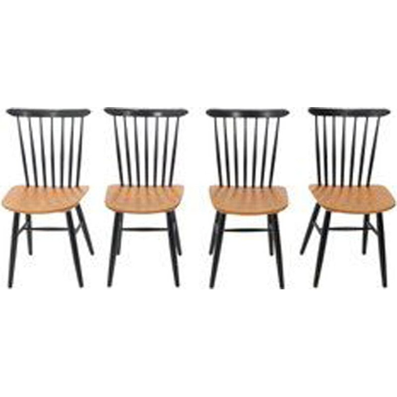 Set of 4 teak bicolor Nesto chairs