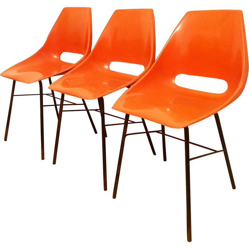 Set of 3 orange chairs by Miroslav Navratil for Vertex