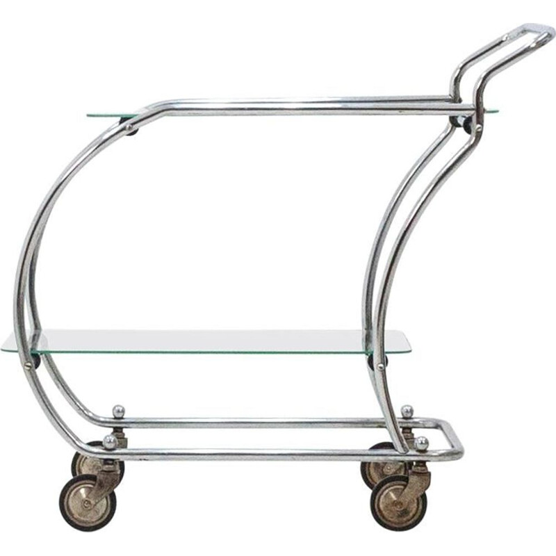 Vintage serving cart in chrome and glass