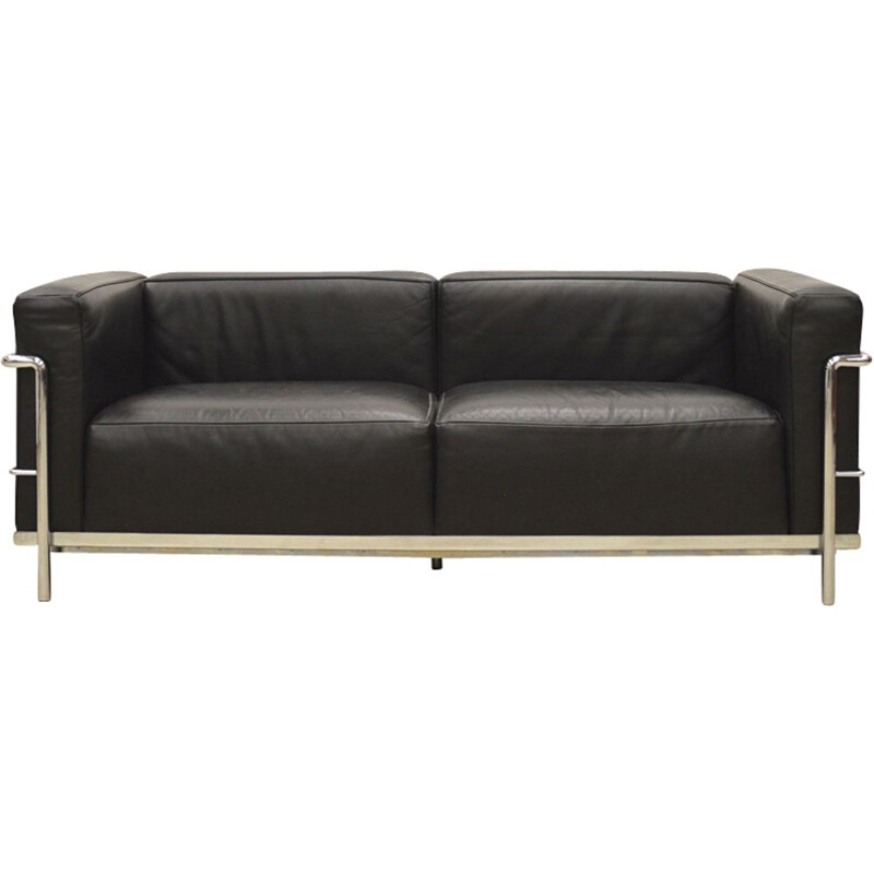 Vintage 2-seater sofa LC3 by Le Corbusier for Cassina