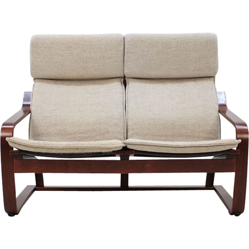 Vintage 2-seater sofa in bent wood by Ton Czechoslovakia
