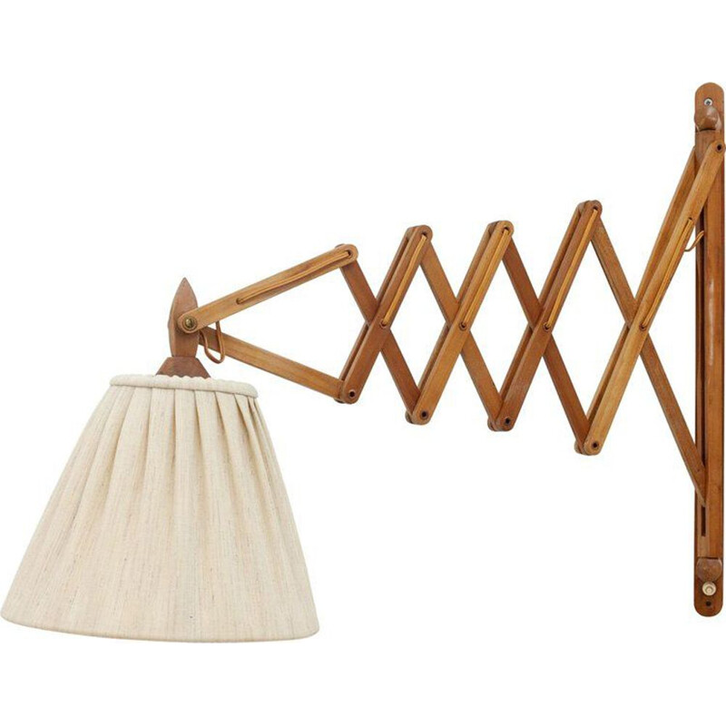 Vintage Danish scissor wall lamp in wood