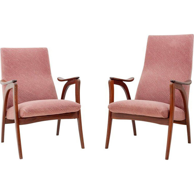Set of 2 vintage Dutch pink armchairs in teak