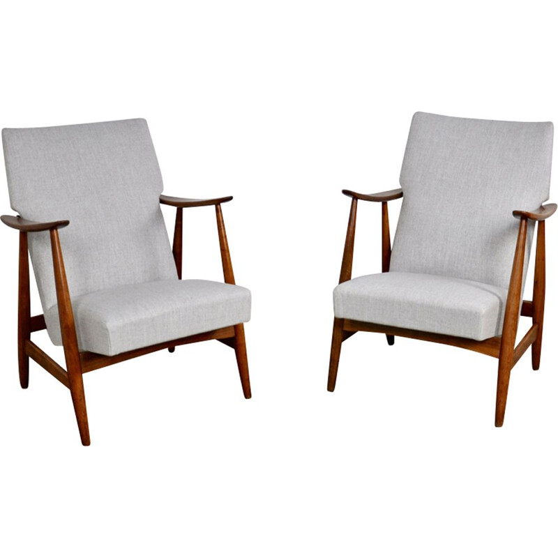 Pair of vintage armchairs by Van Teeffelen in white fabric 1960
