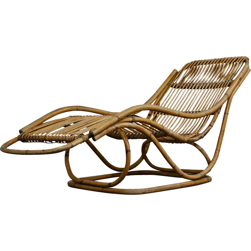 Vintage italian lounge chair in rattan 1960