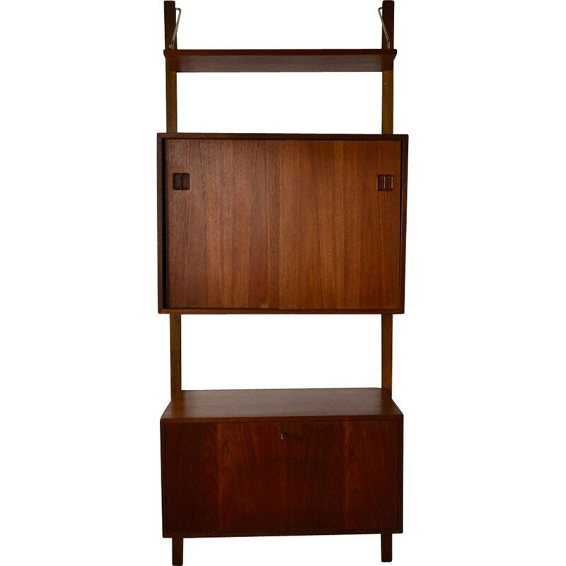 Vintage Royal System wall unit by Poul Cadoviusin teak and brass
