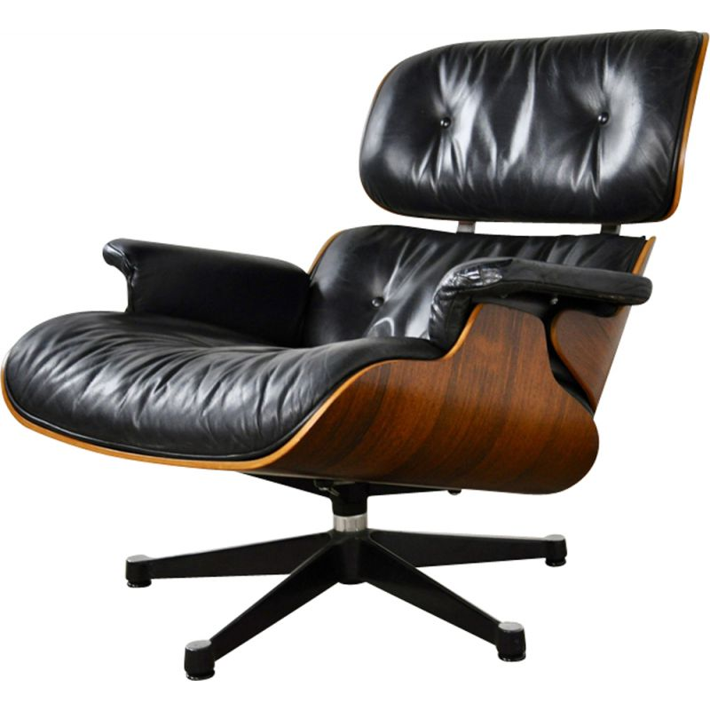 Vintage lounge chair by Eames for Herman Miller in rosewood and leather 1970s