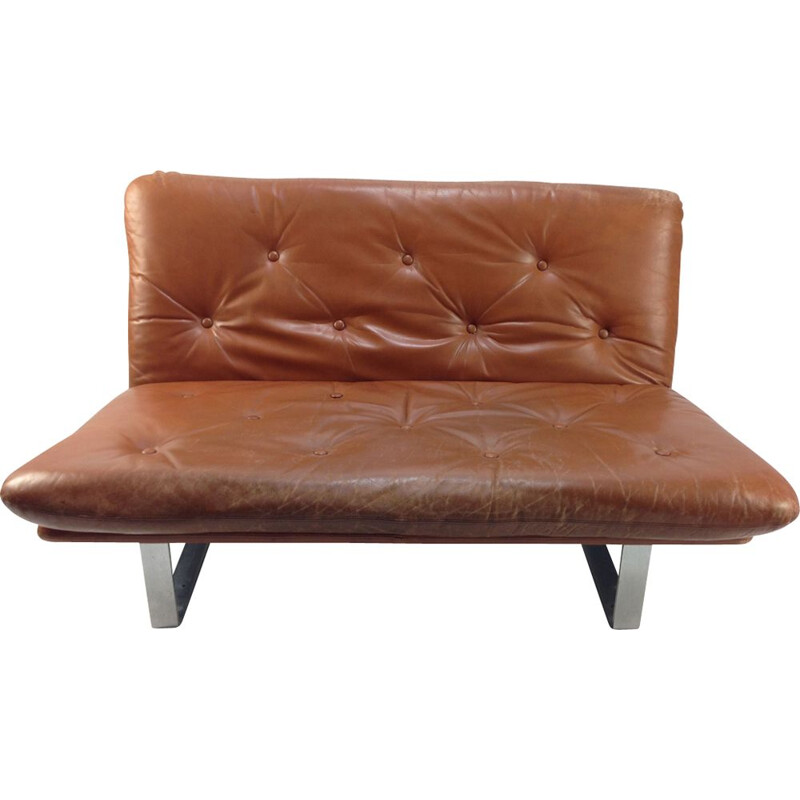 Vintage sofa for Artifort in brown leather and metal 1960