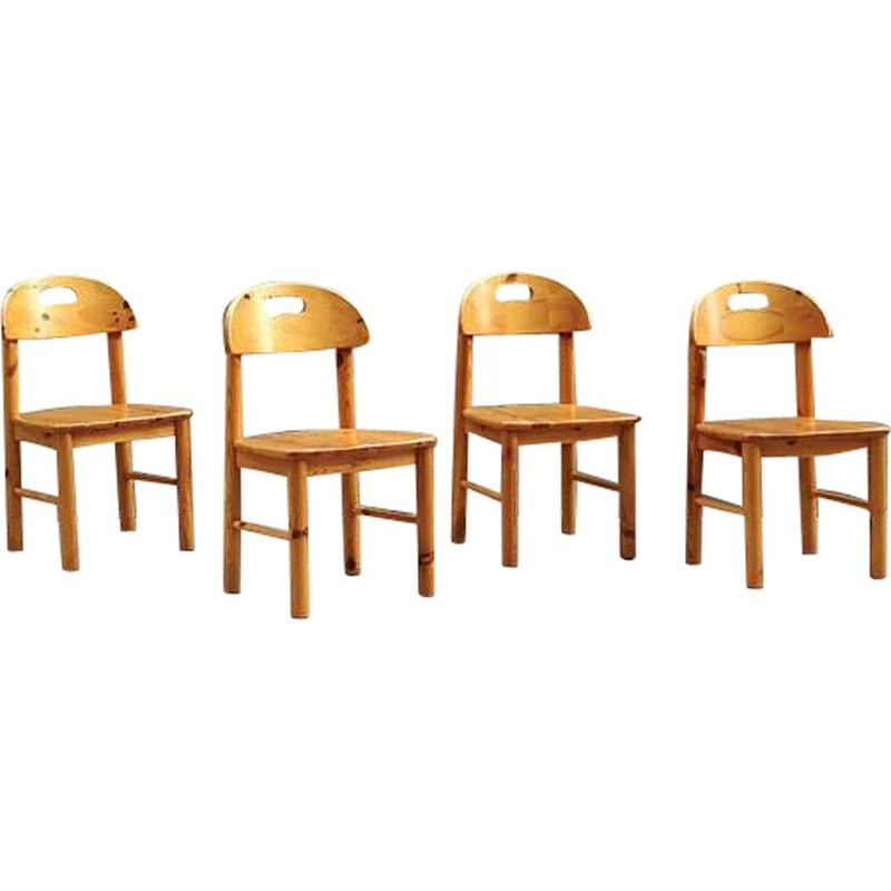 Set of 4 vintage chairs by Rainer Daumiller in solid pine
