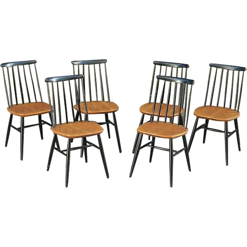 Set of 6 vintage Fanett chairs by Tapiovaara in wood 1960