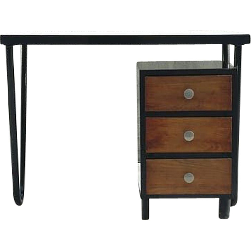 Vintage black modernist desk in metal and wood 1950