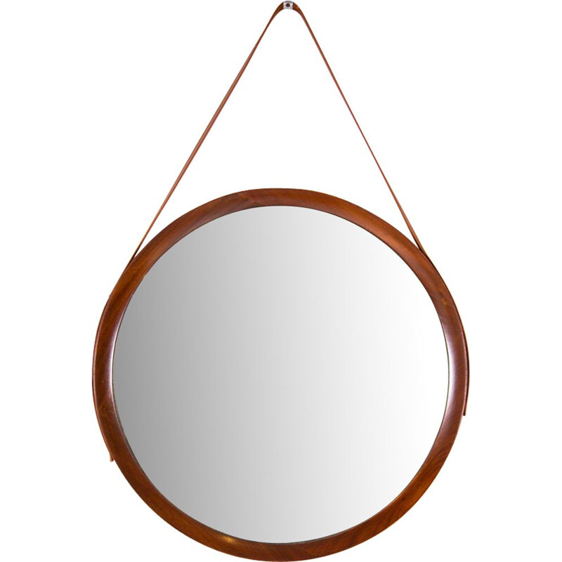 Vintage belgian mirror in teak and leather 1960