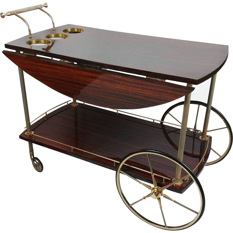 Vintage trolley in mahogany and brass 1950
